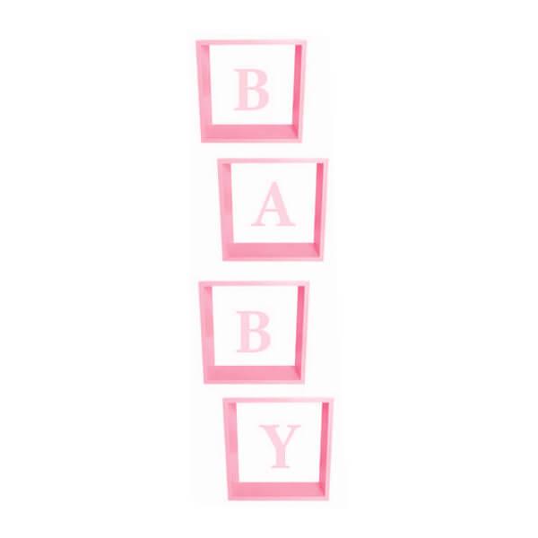 Pudełka na balony na Baby Shower, BABY różowe 30x30x30 cm