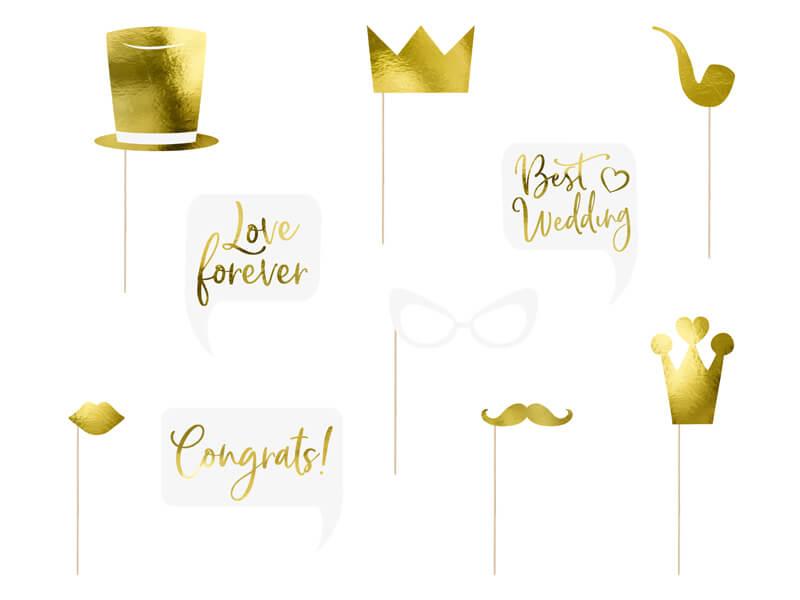 Akcesoria do zdjęć na ślub złote