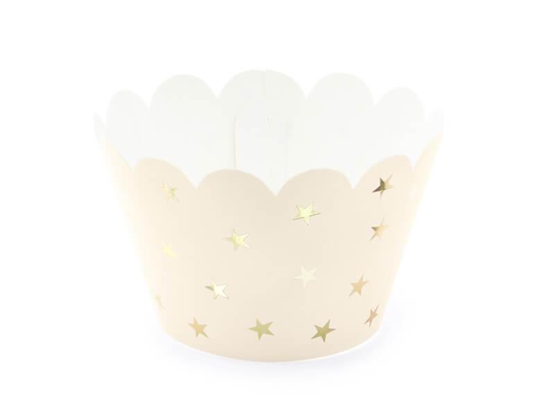 Papilotki na muffinki jasnobrzoskwiniowe w złote gwiazdki