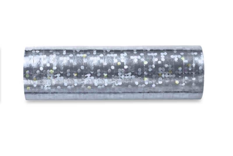 Serpentyny holograficzne srebrne, 3,8 m