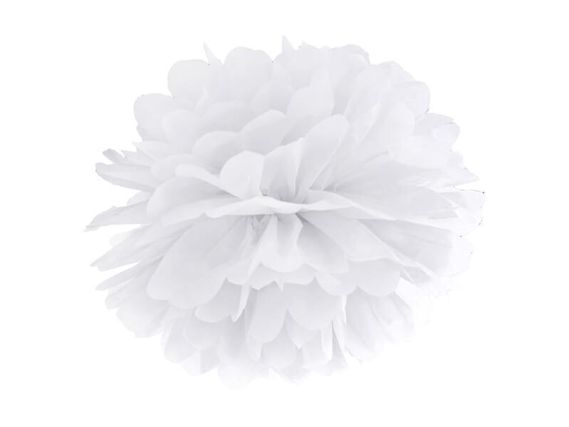 Pompon bibułowy biały, 35 cm