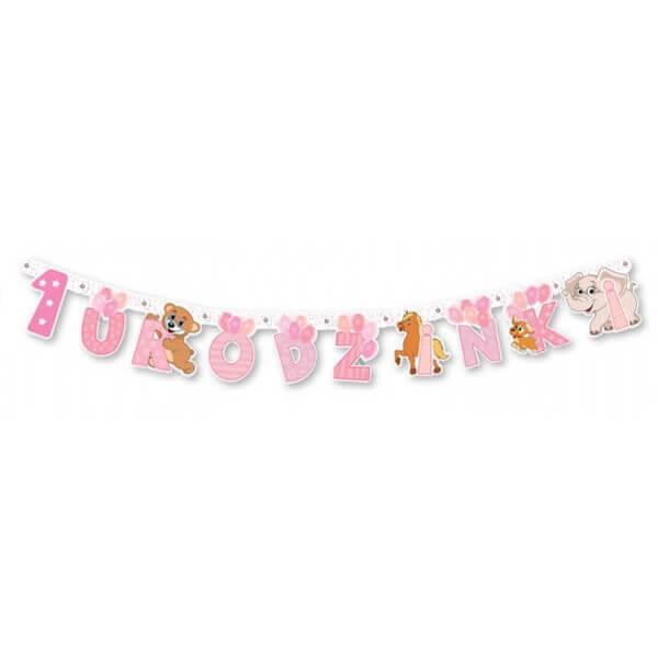 Baner 1 urodzinki różowy