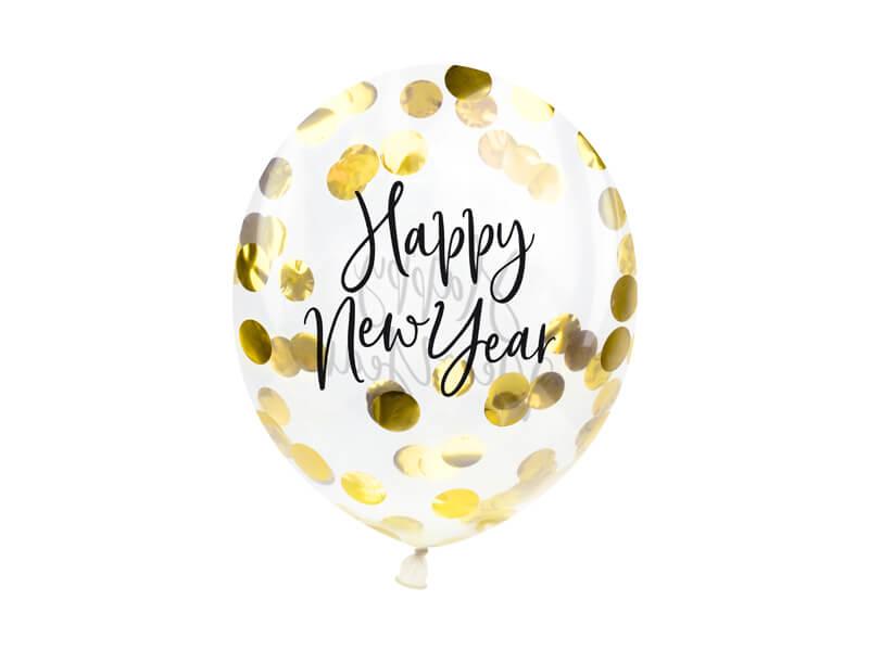 Balony sylwestrowe Happy New Year z konfetti, 30 cm 3 szt.