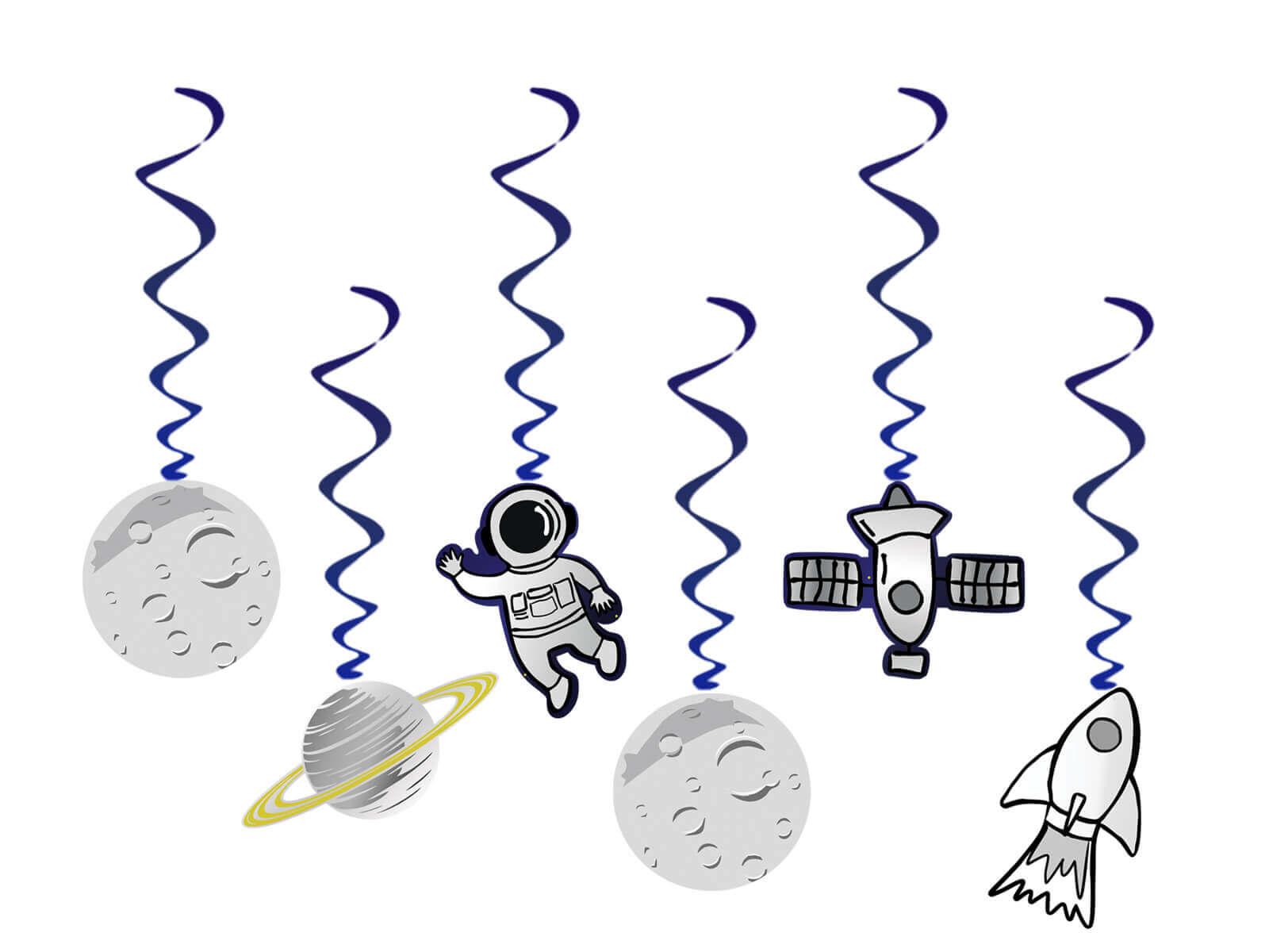 Dekoracja wisząca świderki Kosmos, 6 szt.