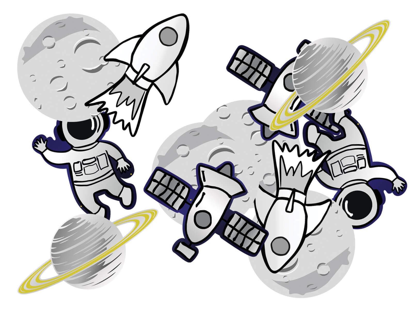 Dekoracja papierowa dwustronna Kosmos, 12 szt.
