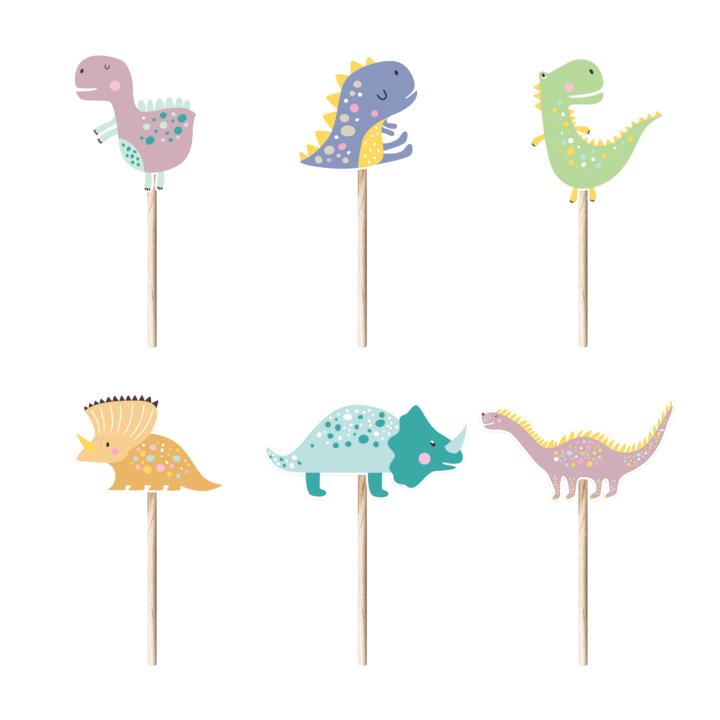 Pikery do babeczek dinozaury, 6 szt.