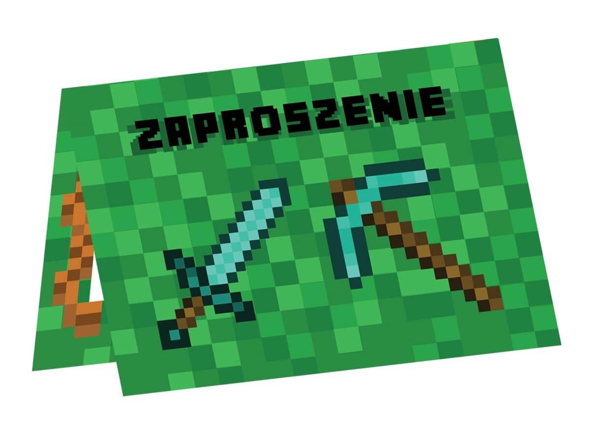 Image of Zaproszenia urodzinowe Piksele, 6 szt.