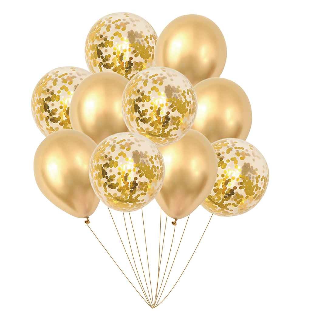 Balony złote i ze złotym konfetti, 30 cm 10 szt.