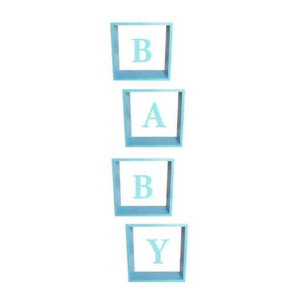 Pudełka na balony na Baby Shower, BABY niebieskie 30x30x30 cm