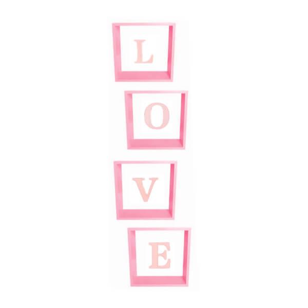 Pudełka na balony na wesele, LOVE różowe 30x30x30 cm